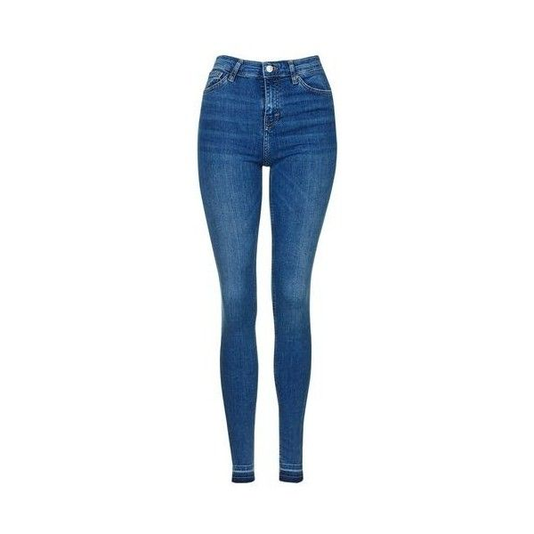 Topshop Moto Let Down Hem Jamie Jeans ($52) ❤ liked on Polyvore featuring jeans, pants, bottoms, trousers, mid stone, blue high waisted jeans, blue skinny jeans, high-waisted skinny jeans, stretch skinny jeans and blue jeans