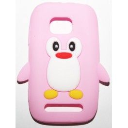 Lumia 710 vaaleanpunainen pingviini silikonisuojus.
