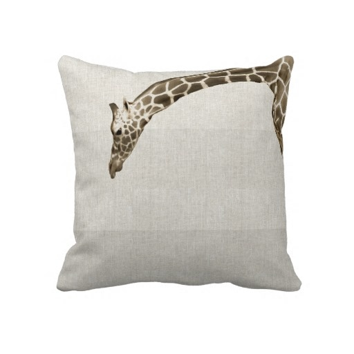 Giraffe Decorative Pillow : Giraffe on Linen Stripes Decorator Accent Pillow Home Decor Pinterest Accent pillows ...