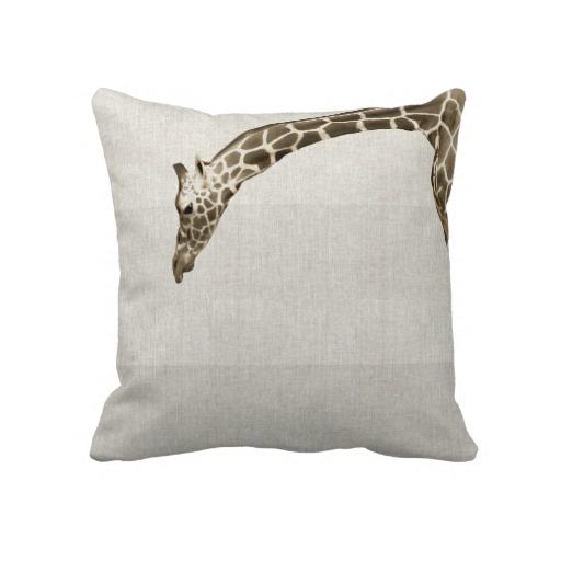 Giraffe on Linen Stripes Decorator Accent Pillow Home Decor Pinterest Accent pillows ...