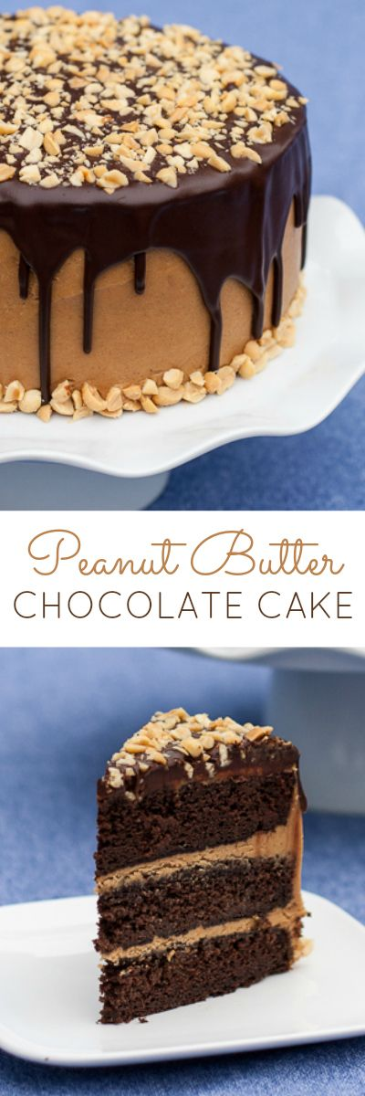 Moist chocolate cake layered with smooth peanut buttery goodness and topped with rich chocolate ganache. A perfect recipe for peanut butter lovers!