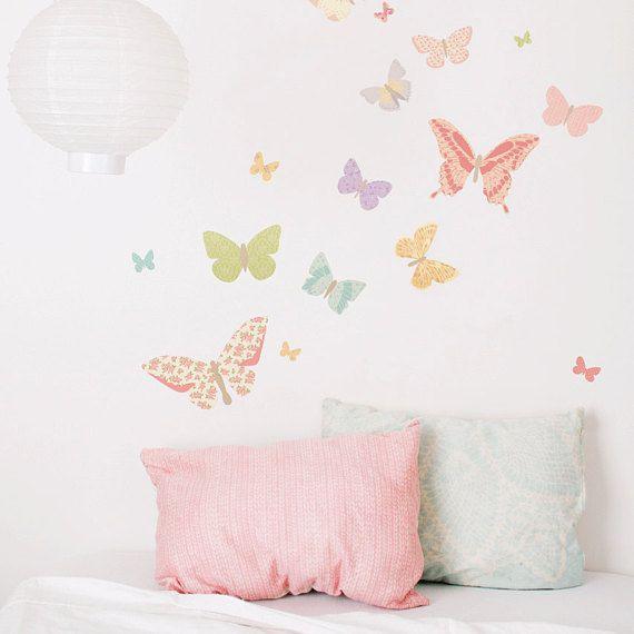 Stoff Wandtattoo – Schmetterlinge Girly (wiederverwendbar) KEIN PVC