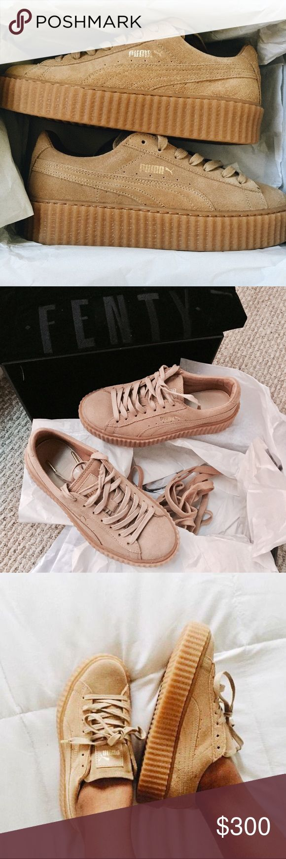 FENTY PUMA x RIHANNA Suede Creepers in Oatmeal 6 Women's size US6 / EU36. Brand new in the box + the duster. Never been worn. ❌ No Trades Puma Shoes Sneakers