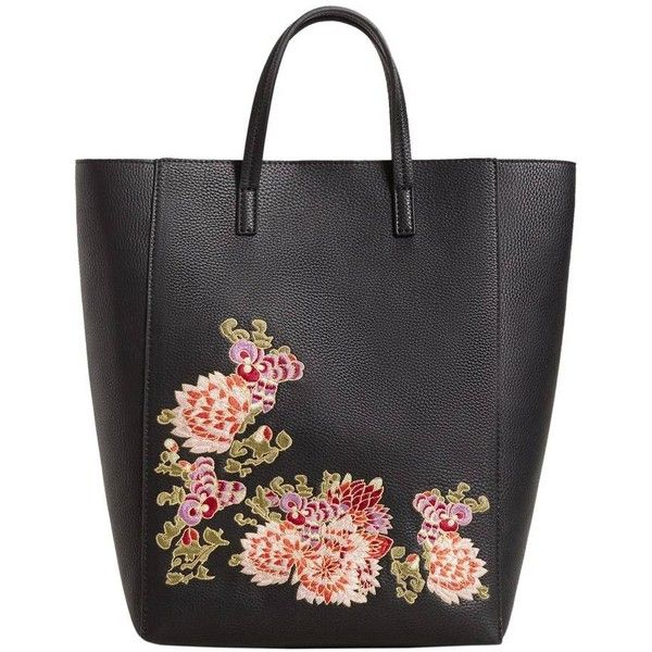 MANGO Floral embroidery shopper bag (930.170 IDR) ❤ liked on Polyvore featuring bags, handbags, tote bags, metallic purse, vegan leather purses, metallic tote bag, vegan tote and vegan leather handbags