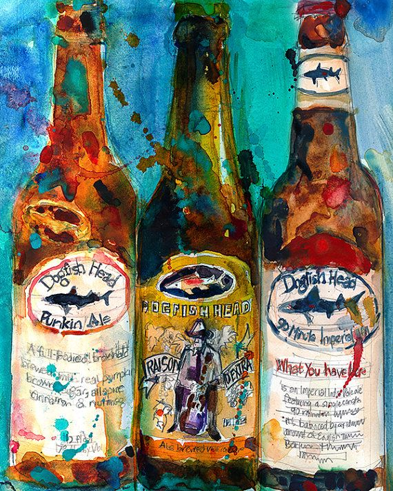 Dogfish Head Brewery Beer Art Print Raison D'Extra  by dfrdesign