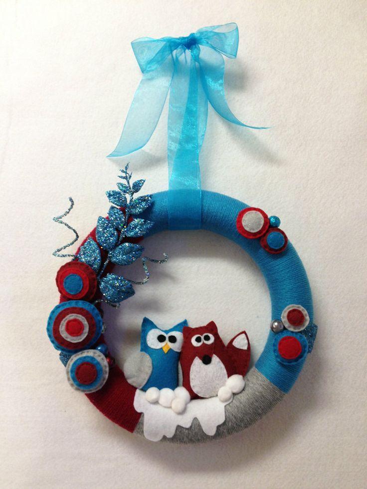 owl fox winter wreath