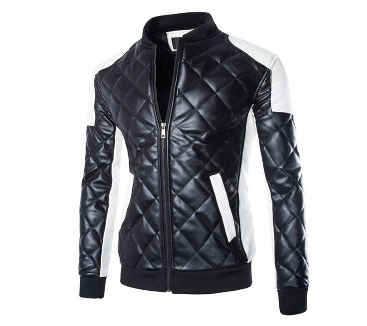 Motorcycle Zipper Faux Leather Jacket For Men, Size M-5XL