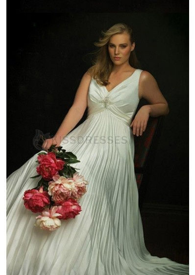 Pleated V-neck Unique Empire Waist Plus Size Wedding Dress  Special Price: $135.00