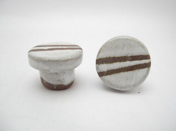 Door Knobs, Door Pulls, Cabinet knobs, Home Decor Door Fixtures, Small Handmade Ceramic Terracotta Brown and White