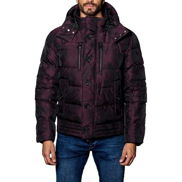 Men's Jared Lang Alaska Camo Down Puffer Coat ($399) ❤ liked on Polyvore featuring men's fashion, men's clothing, men's outerwear, men's coats, burgundy camo, mens hooded coats, mens ski coats, mens puffy jacket and mens camo coat