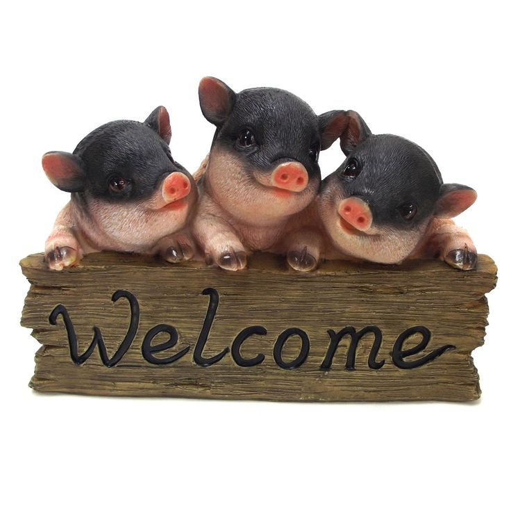 Pig Welcome Sign Ornament Piglet Statue Garden Sculpture 25cm Black 2027 |  EBay