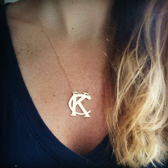 Kansas City Royals brass necklace with dainty by RuthRyanJewelry
