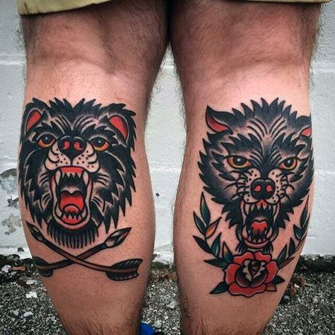 Guys Back Of Leg Calf Traditional Tattoo Of Bear And Wolf