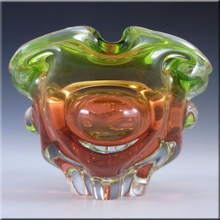 Chribska Czech Green/Pink Glass Vase/Bowl by Josef Hospodka - £39.99