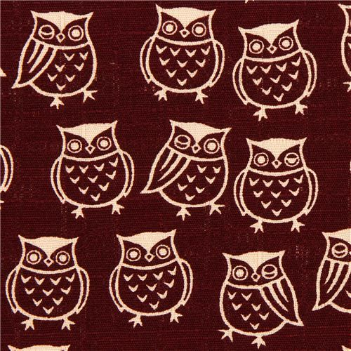 wine red structured owl fabric by Cosmo from Japan 1