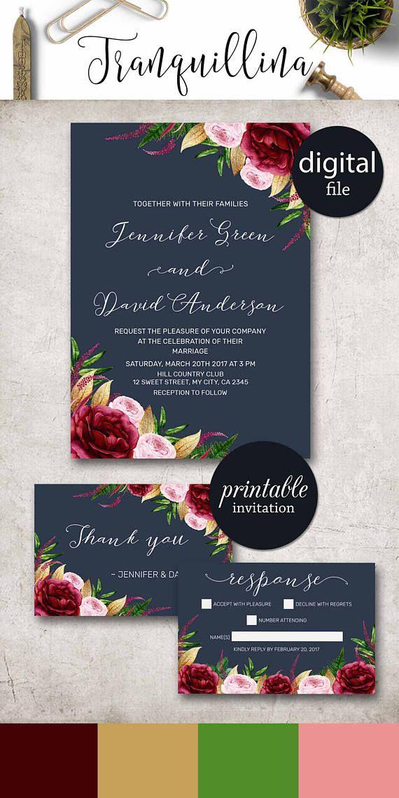 Navy Floral Wedding Invitation, Burgundy Wedding Invitation Suite, Boho Wedding Invitation, Gold Navy Blue Wedding Invitation Spring Summer Wedding Ideas.