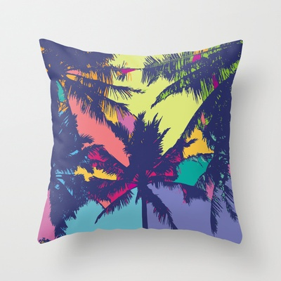 Palm tree Throw Pillow by PINT GRAPHICS - $20.00