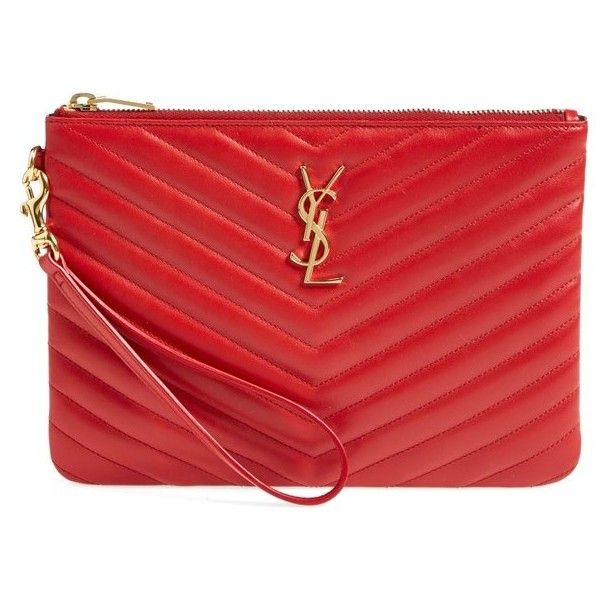 Women's Saint Laurent 'Monogramme' Zip Pouch (9.345.190 IDR) ❤ liked on Polyvore featuring bags, handbags, clutches, quilted clutches, chevron purses, red clutches, quilted handbags and chevron handbag