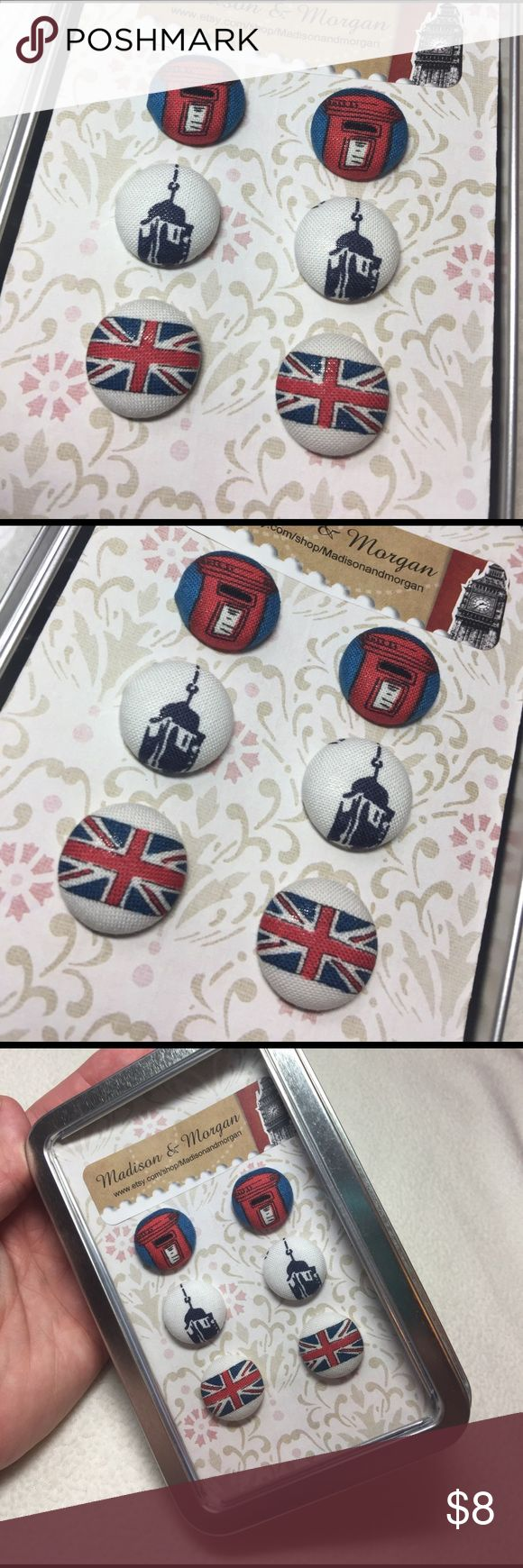 Handmade Designer Fabric London Earrings Beautiful handmade set of three pairs of fabric covered 'Button Betty' earrings handcrafted from designer fabrics. These earrings measure half inch in diameter and are made from surgical stainless steel backs and p