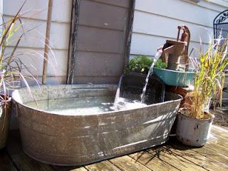 Wash tub fountain gives a rustic vintage cottage look to your garden. Upcycle, recycle, salvage, repurpose! For ideas and goods shop at Estate ReSale & ReDesign, Bonita Springs, FL