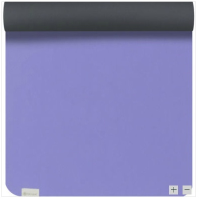 Purple and Black Gaiam Sol Suddha Eco Yoga Mat - As if we need another excuse to do more yoga. This is one of the cutest yoga mats I've seen in a while. One color per side to match your mood. Get your bendy on. Flexibility comes in handy in all sorts of fun situations ;)