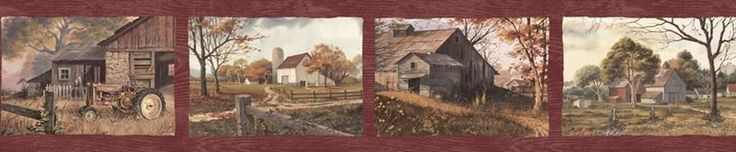 Brewster Wallpaper PUR44591B Norm Red Quiet Country Scenes Border