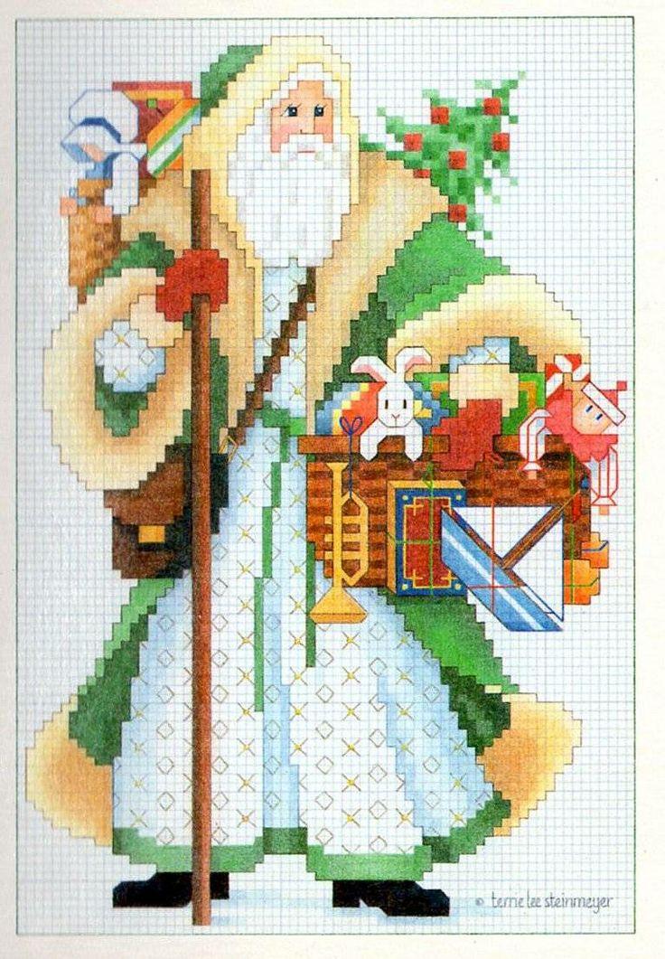 Christmas card - Cross stitch patterns - Santa Claus