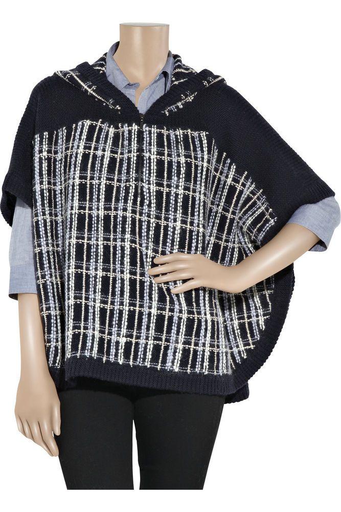 Pringle 1815 Scotland $695 Navy Blue Wool Plaid Hooded Poncho S M L #Pringle1815 #Poncho