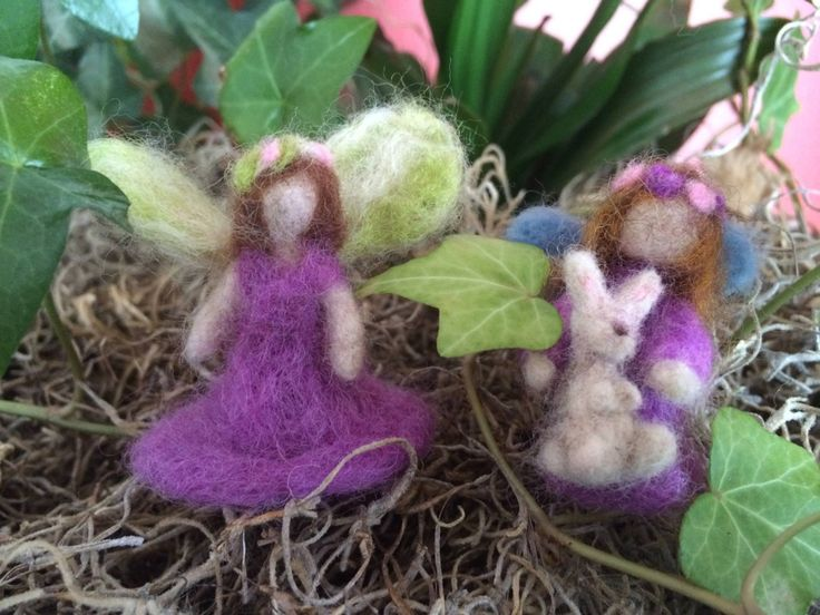 Tiny woodland needle felted fairies and bunny, waldorf, handmade, pinks and purples, by artbythebeth on Etsy