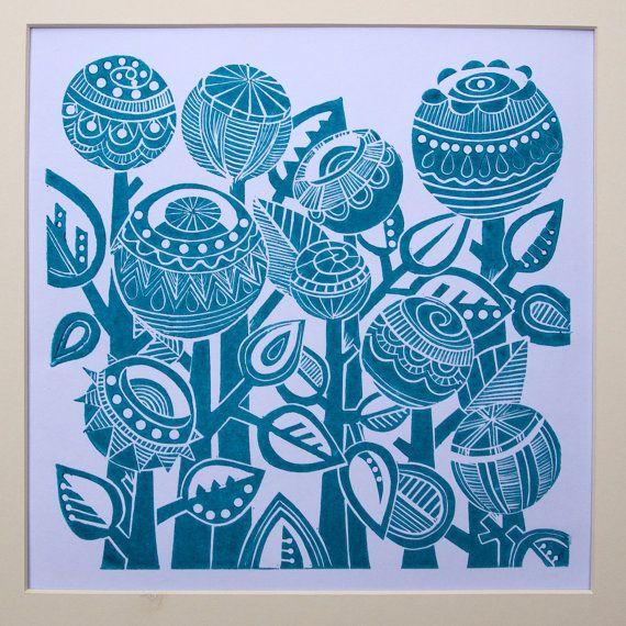 Turquoise Garden Lino Print, by Jools Yasites
