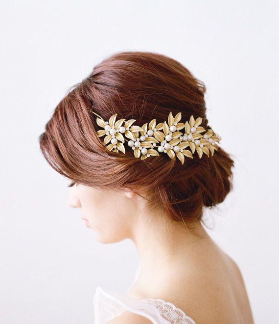 Gold Bridal Headpiece ELLWOOD Bridal Leaf by EdenLuxeBridal
