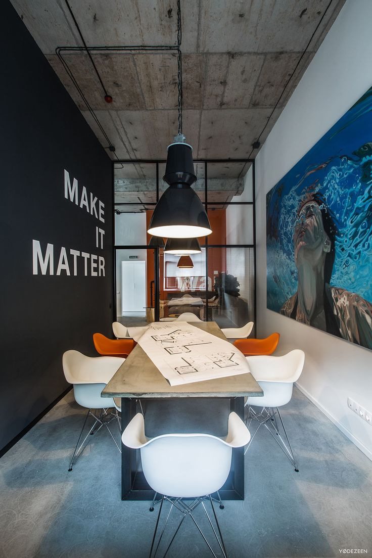 Color art office interiors - Love The Color Scheme Reclaimed Wood On Ceiling And Dark Color On Accent Wall Also Love The Chairs Must Use In Sitting Area Love The Lighting Too