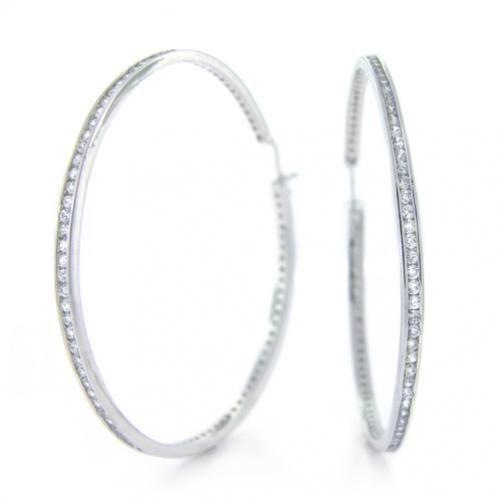 Sterling Silver Diamond CZ Large 2.5in Hoop Earrings
