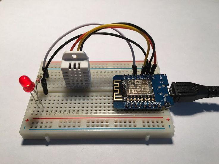 Projet DIY pour réaliser un objet connecté qui mesure la température avec un DHT22 branché sur un ESP8266 Wemos D1 Mini relié à openHAB via MQTT