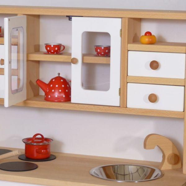 Kinderküche Spielküche Holz Weiß mit Herd Spüle Regal 2033
