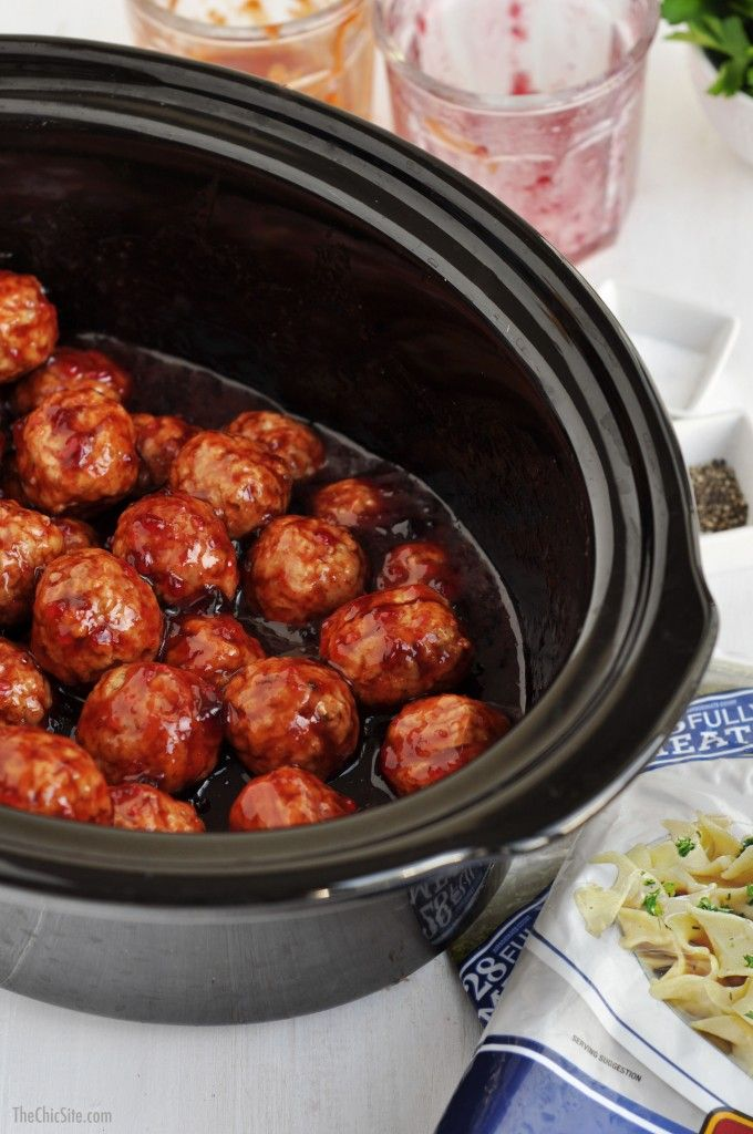 Throw these meatballs in a Slow Cooker with Grape Jelly and Chili Sauce!