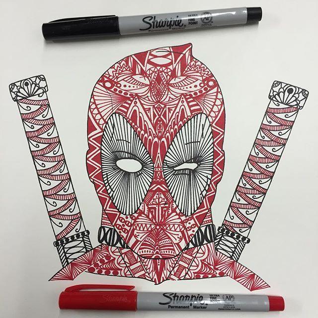 Deadpool Tattoo Outline: So I Finally Zentangled That Deadpool Outline I Drew A Few