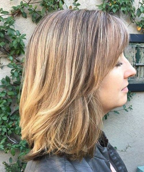 Medium Thick Layered Hairstyles 2018 for Women Over 40