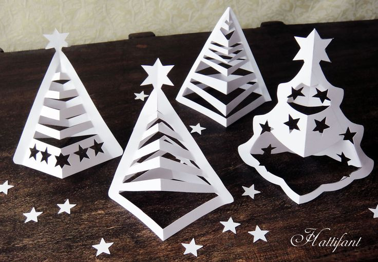 Hattifant - 3D Paper Christmas Trees (includes printables and video tutorial - - good for filling in extra class time)