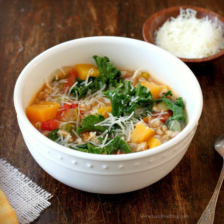 Kale and Farro Soup - made this yesterday.  Yummy!  I used a whole package of Trader Joe's fresh butternut squash which was about 2-1/2 cups, cubed.  My farro was pre-cooked and frozen.  I thawed it and added to soup when the squash was almost done.