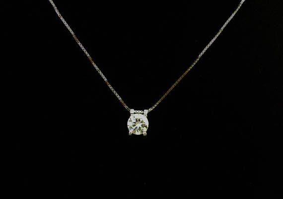 1.28ct Clear/White Round cut lab Diamond 925 Silver Pendant