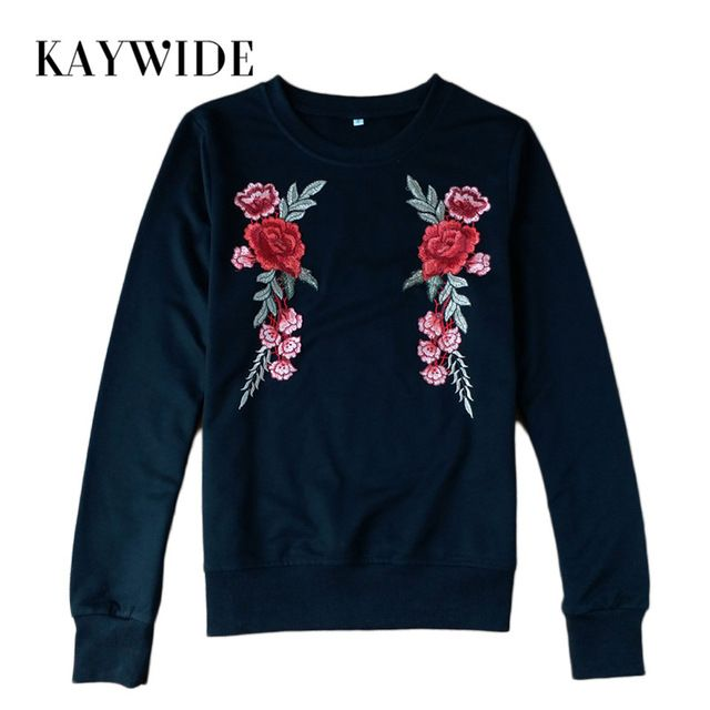 Kaywide 2017 New Autumn Women Hoodies Fashion Rose Floral Embroidery Casual Pullovers Winter Full Sleeve Tops Sweatshirts Femme #Brand #KAYWIDE #sweaters #women_clothing #stylish_dresses #style #fashion