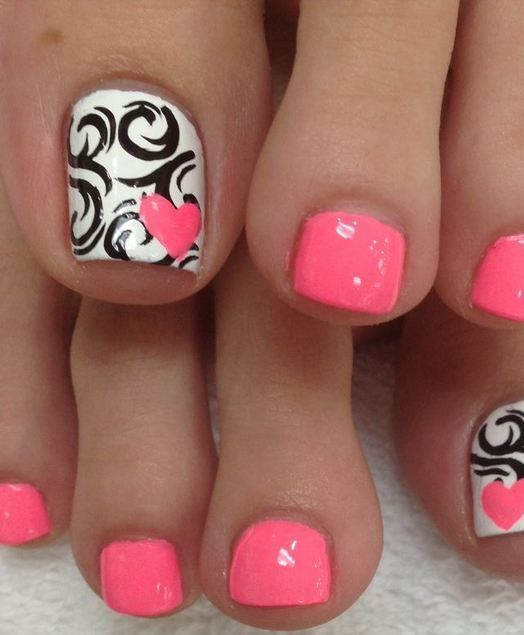 awesome Hot Pink Toes, Black Swirls & Pink Hearts by http://www.nail-artdesign-expert.xyz/nail-designs-for-toes/hot-pink-toes-black-swirls-pink-hearts/
