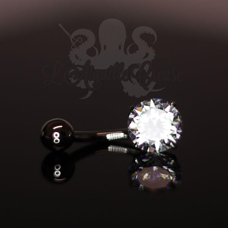 Bijou de nombril en or blanc 18 carats et zircon :)