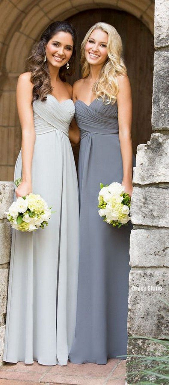 grey long bridesmaid dresses / http://www.deerpearlflowers.com/grey-fall-wedding-ideas/