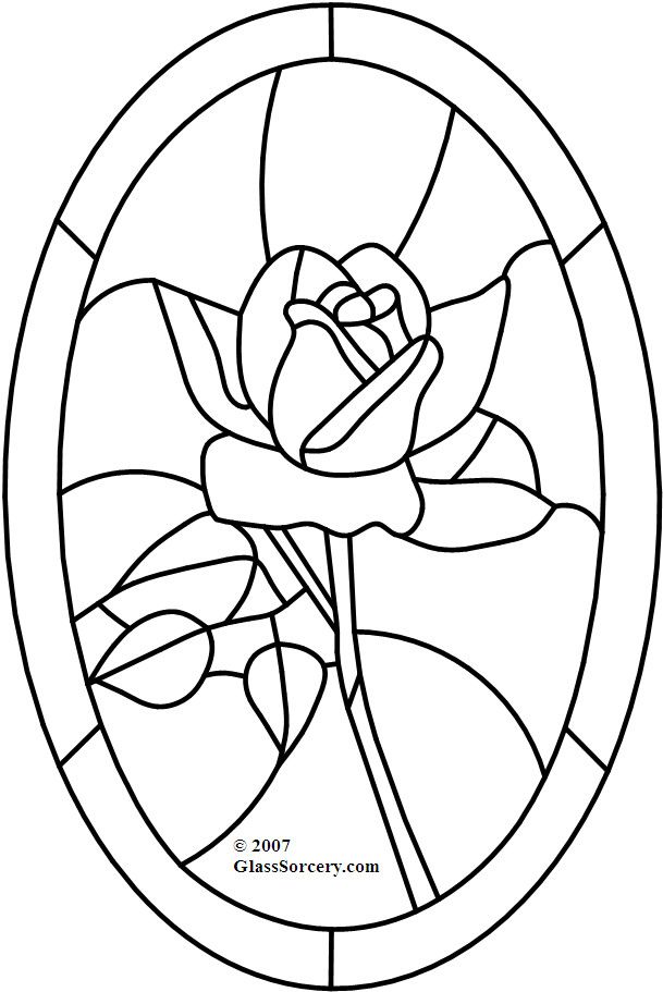 B Stained Glass Pattern: Red Rose in Oval