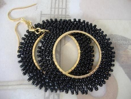 Seed Bead Earrings  Basic Black