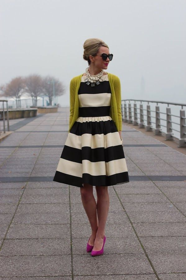 Kate Spade black and white striped dress. cardigan. sunglasses. up-do  every time I see this dress at the mall I want to buy it soooo bad!!!
