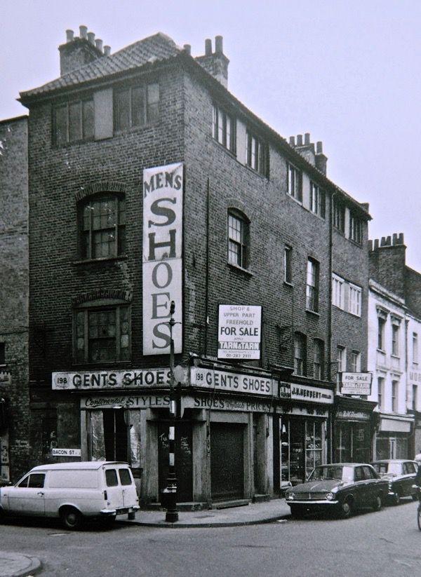 Corner of Bacon St & Brick Lane, mid-seventies