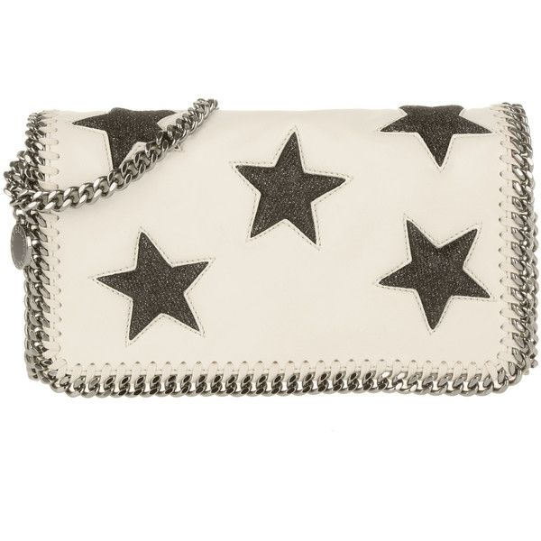 Stella McCartney Falabella Clutch Shaggy Deer Stars White (4,115 MXN) ❤ liked on Polyvore featuring bags, handbags, clutches, white purse, white handbags, stella mccartney, stella mccartney handbags and star purse